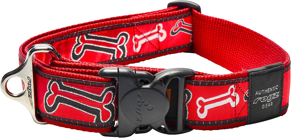 Ошейник для собак Rogz Fancy Dress, цвет: красный, ширина 4 см23518Ошейник для собак Rogz Fancy Dress имеет необычный дизайн. Широкая гамма потрясающе красивых орнаментов на прочной тесьме поверх нейлоновой ленты украсит вашего питомца. Специальная конструкция пряжки Rog Loc - очень крепкая (система Fort Knox). Замок может быть расстегнут только рукой человека. Технология распределения нагрузки позволяет снизить нагрузку на пряжки, изготовленные из титанового пластика, с помощью правильного и разумного расположения грузовых колец.Особые контурные пластиковые компоненты. Специальная округлая форма конструкции позволяет ошейнику комфортно облегать шею собаки. Выполненные по заказу литые кольца имеют хромирование, нанесенное гальваническим способом, что позволяет избежать коррозии и потускнения изделия.