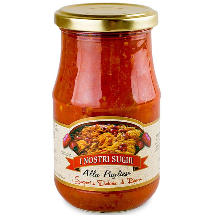 I Nostri Sughi cоус пульезе томатный к пасте, 350 г0120710Томатный соус, безусловно, один из самых популярных в мире. Эти соусы созданы из свежих и натуральных продуктов, спелых, сочных овощей. Без консервантов и красителей исключительно натуральный состав, приготовленный итальянскими мастерами. Широкий ассортимент, позволяет разнообразить стол и наслаждаться новыми вкусами. Эти соусы не нужно готовить, достаточно добавить их к пасте и изысканное блюдо готово!
