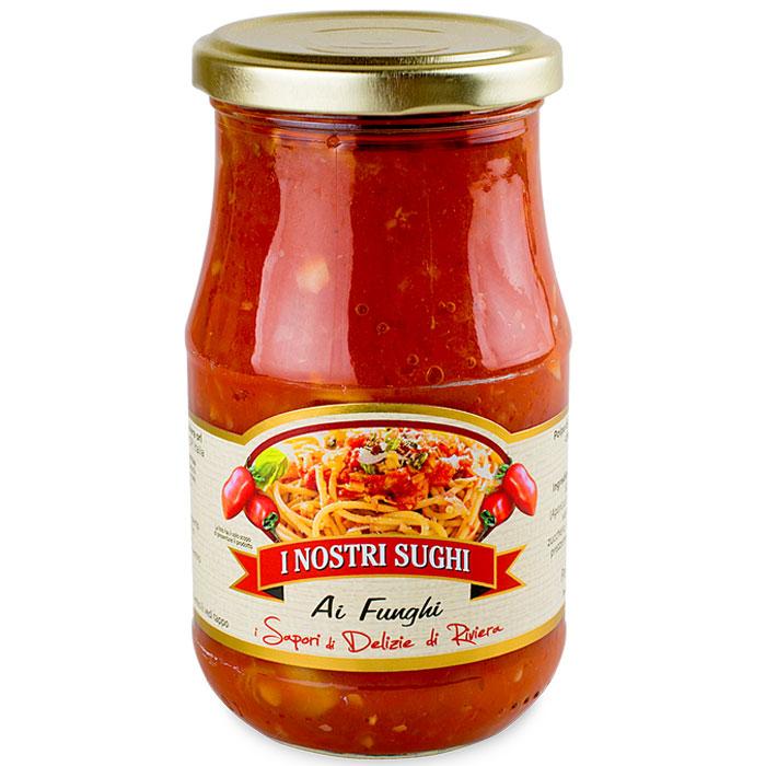 I Nostri Sughi cоус с шампиньонами томатный к пасте, 350 г0120710Томатный соус, безусловно, один из самых популярных в мире. Эти соусы созданы из свежих и натуральных продуктов, спелых, сочных овощей. Без консервантов и красителей исключительно натуральный состав, приготовленный итальянскими мастерами. Широкий ассортимент, позволяет разнообразить стол и наслаждаться новыми вкусами. Эти соусы не нужно готовить, достаточно добавить их к пасте и изысканное блюдо готово!
