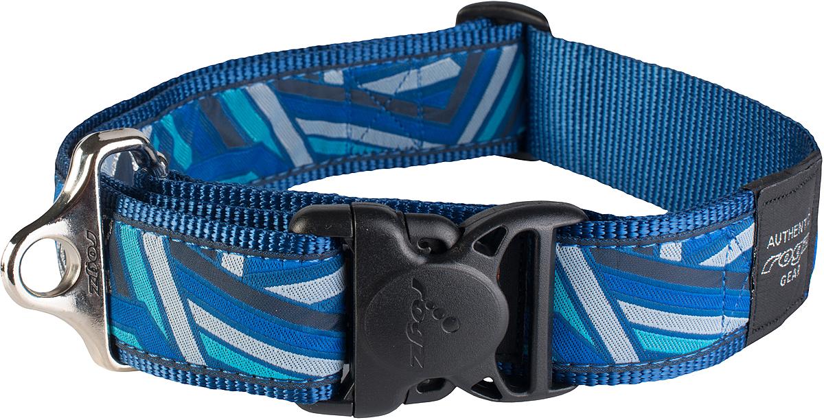 Ошейник для собак Rogz Fancy Dress, цвет: голубой, ширина 4 см0120710Ошейник для собак Rogz Fancy Dress имеет необычный дизайн. Широкая гамма потрясающе красивых орнаментов на прочной тесьме поверх нейлоновой ленты украсит вашего питомца. Специальная конструкция пряжки Rog Loc - очень крепкая (система Fort Knox). Замок может быть расстегнут только рукой человека. Технология распределения нагрузки позволяет снизить нагрузку на пряжки, изготовленные из титанового пластика, с помощью правильного и разумного расположения грузовых колец.Особые контурные пластиковые компоненты. Специальная округлая форма конструкции позволяет ошейнику комфортно облегать шею собаки. Выполненные по заказу литые кольца имеют хромирование, нанесенное гальваническим способом, что позволяет избежать коррозии и потускнения изделия.