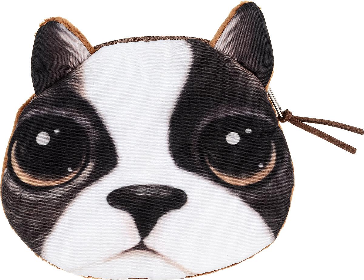 Кошелек женский Mitya Veselkov Собачка, цвет: коричневый. 306762INT-06501Женский кошелек от модного бренда Mitya Veselkov изготовлен из текстиля и оформлен изображением собаки. Основное отделение кошелька застегивается на застежку-молнию.