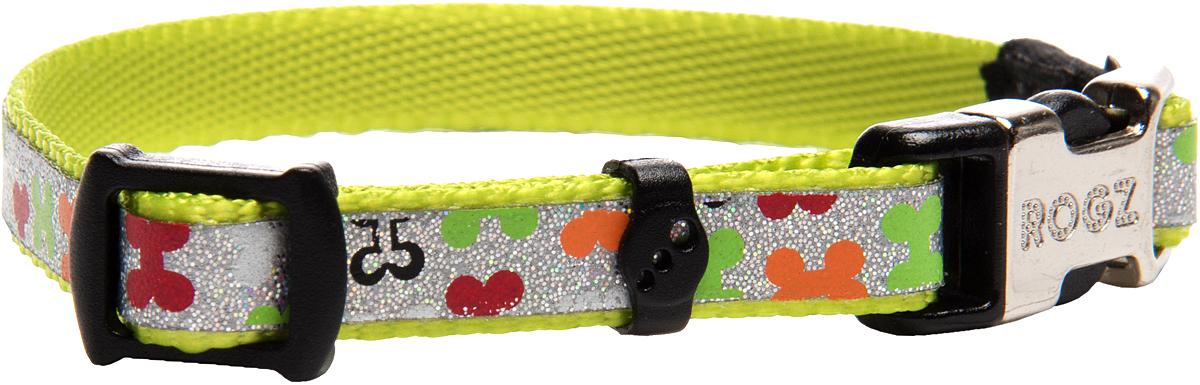 Ошейник для собак Rogz Trendy , цвет: салатовый, ширина 0,8 см0120710Ошейник для собак Rogz Trendy  обладает нежнейшей мягкостью и гибкостью.Светоотражающие материалы для обеспечения лучшей видимости собаки в темное время суток.