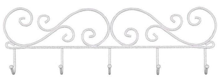 Вешалка настенная ЗМИ Кружева, с 5 крючками, цвет: белый, серебристый, 40 х 4 х 13 см1004900000360Назначение: Настенная вешалка для размещения одежды. Область применения: В любых помещениях – дом, офис, общепит и других.Материал: Проволока диаметром 4 мм; стальные шарики; полимерно-порошковое покрытие. Конструкция: Цельносварная.Упаковка: ПЭТ пленка. Габариты (Д х Ш х В):В собранном виде: 400 х 40 х 130 мм.Вес Нетто: 0,25 кг. Вес Брутто: 0,255 кг. Объем: 0,001 куб.м. Отличительные особенности: - надежная сварная конструкция;- компактная вешалка с 5 крючками.