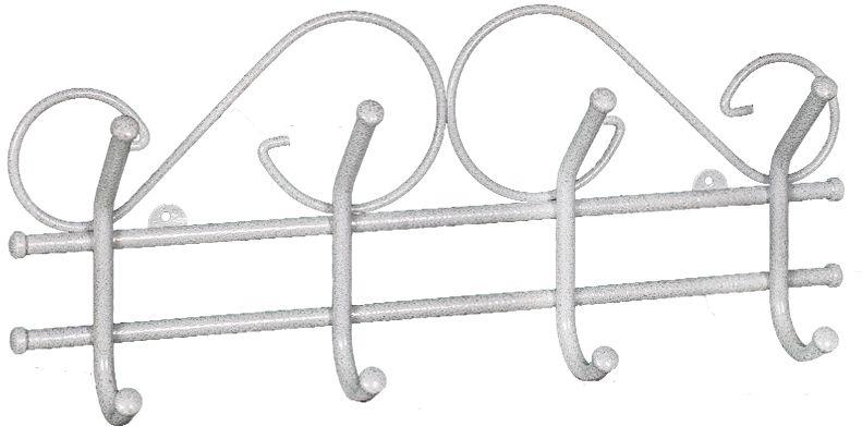 Вешалка настенная ЗМИ Ажур, с 4 крючками, цвет: белый, серебристый, 48 х 8 х 21 смRG-D31SНазначение: Настенная вешалка для размещения одежды. Область применения: В любых помещениях – дом, офис, общепит и других. Материал: Стальная труба диаметром 10 мм, стальная проволока диаметром 5мм;стальные колпачки; полимерно-порошковое покрытие.Конструкция: Цельносварная.Упаковка: ПЭТ пленка. Габариты (Д х Ш х В):В собранном виде: 480 х 80 х 210 мм. В упакованном виде: 480 х 80 х 210 мм. Вес Нетто: 0,57 кг. Вес Брутто: 0,6 кг. Объем: 0,006 куб.м.Отличительные особенности: - надежная сварная конструкция;- изящная форма, напоминает кованую вешалку.