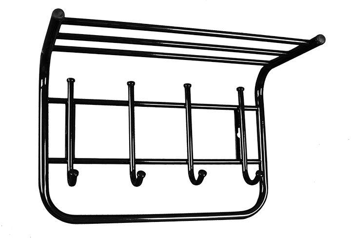 Вешалка настенная ЗМИ, с полкой, с 4 крючками, цвет: черный, 40 х 21 х 28 см28907 4Назначение: Настенная вешалка для размещения одежды и головных уборов. Область применения: В любых помещениях – дом, офис, общепит и других. Материал: Стальная труба диаметром 10 и 16 мм; стальные колпачки; пластиковые заглушки; полимерно-порошковое покрытие. Конструкция: Цельносварная.Упаковка: ПЭТ пленка. Габариты (Д х Ш х В): В собранном виде: 400 х 210 х 280 мм. В упакованном виде: 400 х 210 х 280 мм. Вес Нетто: 0,98 кг. Вес Брутто: 0,99 кг. Объем: 0,007 куб.м.Отличительные особенности: - надежная сварная конструкция;- компактная вешалка с 4 крючками;- полка удобна для хранения головных уборов;- классическая форма.