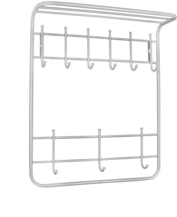 Вешалка настенная ЗМИ Антик, 2-ярусная, с полкой, 9 крючков, цвет: белый, серебристый, 60 х 21 х 72 смБрелок для ключейНазначение: Настенная вешалка для размещения одежды и головных уборов. Область применения: В любых помещениях – дом, офис, общепит и других. Материал: Стальная труба диаметром 10 и 16 мм; стальные колпачки; полимерно-порошковое покрытие. Конструкция: Цельносварная.Упаковка: ПЭТ пленка. Габариты (Д х Ш х В): В собранном виде: 600 х 210 х 720 мм.В упакованном виде: 600 х 210 х 720 мм.Вес Нетто: 2 кг. Вес Брутто: 2,05 кг. Объем: 0,021 куб.м. Отличительные особенности: - надежная сварная конструкция;- практичная двухъярусная вешалка с 9 крючками;- нижний ярус крючков удобно использовать для размещения сумок, зонтов, а также детской одежды;- полка удобна для хранения головных уборов;- классическая форма.При правильной эксплуатации срок службы 10 лет.