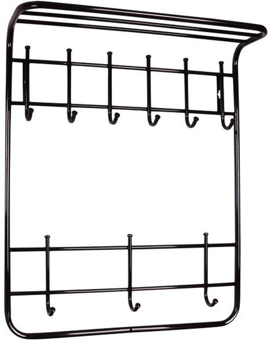Вешалка настенная ЗМИ, 2-ярусная, с полкой, 9 крючков, цвет: черный, 60 х 21 х 72 смDEN-25Назначение: Настенная вешалка для размещения одежды и головных уборов. Область применения: В любых помещениях – дом, офис, общепит и других. Материал: Стальная труба диаметром 10 и 16 мм; стальные колпачки; полимерно-порошковое покрытие. Конструкция: Цельносварная.Упаковка: ПЭТ пленка. Габариты (Д х Ш х В): В собранном виде: 600 х 210 х 720 мм.В упакованном виде: 600 х 210 х 720 мм.Вес Нетто: 2 кг. Вес Брутто: 2,05 кг. Объем: 0,021 куб.м. Отличительные особенности: - надежная сварная конструкция;- практичная двухъярусная вешалка с 9 крючками;- нижний ярус крючков удобно использовать для размещения сумок, зонтов, а также детской одежды;- полка удобна для хранения головных уборов;- классическая форма.При правильной эксплуатации срок службы 10 лет.