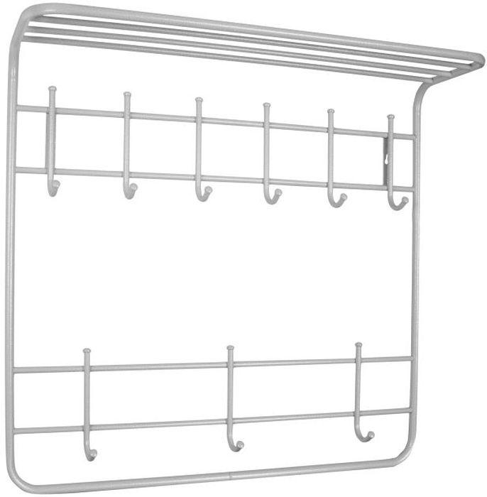 Вешалка настенная ЗМИ Антик, 2-ярусная, с полкой, 9 крючков, цвет: белый, серебристый, 80 х 25 х 74 смDEN-21Назначение: Настенная вешалка для размещения одежды и головных уборов. Область применения: В любых помещениях – дом, офис, общепит и других. Материал: Стальная труба диаметром 10 и 16 мм;стальные колпачки; полимерно-порошковое покрытие. Конструкция: Цельносварная.Упаковка: ПЭТ пленка.Габариты (Д х Ш х В):В собранном виде: 800 х 250 х 740 мм.В упакованном виде: 800 х 250 х 740 мм. Вес Нетто: 2,45 кг. Вес Брутто: 2,55 кг. Объем: 0,027 куб.м. Отличительные особенности: - надежная сварная конструкция;- вместительная двухъярусная вешалка с 9 крючками;- нижний ярус крючков удобно использовать для размещения сумок, зонтов, а также детской одежды;- полка удобна для хранения головных уборов;- классическая форма. При правильной эксплуатации срок службы 10 лет.