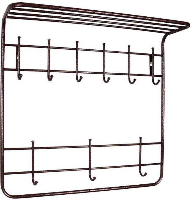 Вешалка настенная ЗМИ Антик, 2-ярусная, с полкой, цвет: медный, 80 х 25 х 74 смZ-0307Назначение: Настенная вешалка для размещения одежды и головных уборов. Область применения: В любых помещениях – дом, офис, общепит и других. Материал: Стальная труба диаметром 10 и 16 мм;стальные колпачки; полимерно-порошковое покрытие. Конструкция: Цельносварная.Упаковка: ПЭТ пленка.Габариты (Д х Ш х В):В собранном виде: 800 х 250 х 740 мм.В упакованном виде: 800 х 250 х 740 мм. Вес Нетто: 2,45 кг. Вес Брутто: 2,55 кг. Объем: 0,027 куб.м. Отличительные особенности: - надежная сварная конструкция;- вместительная двухъярусная вешалка с 9 крючками;- нижний ярус крючков удобно использовать для размещения сумок, зонтов, а также детской одежды;- полка удобна для хранения головных уборов;- классическая форма. При правильной эксплуатации срок службы 10 лет.
