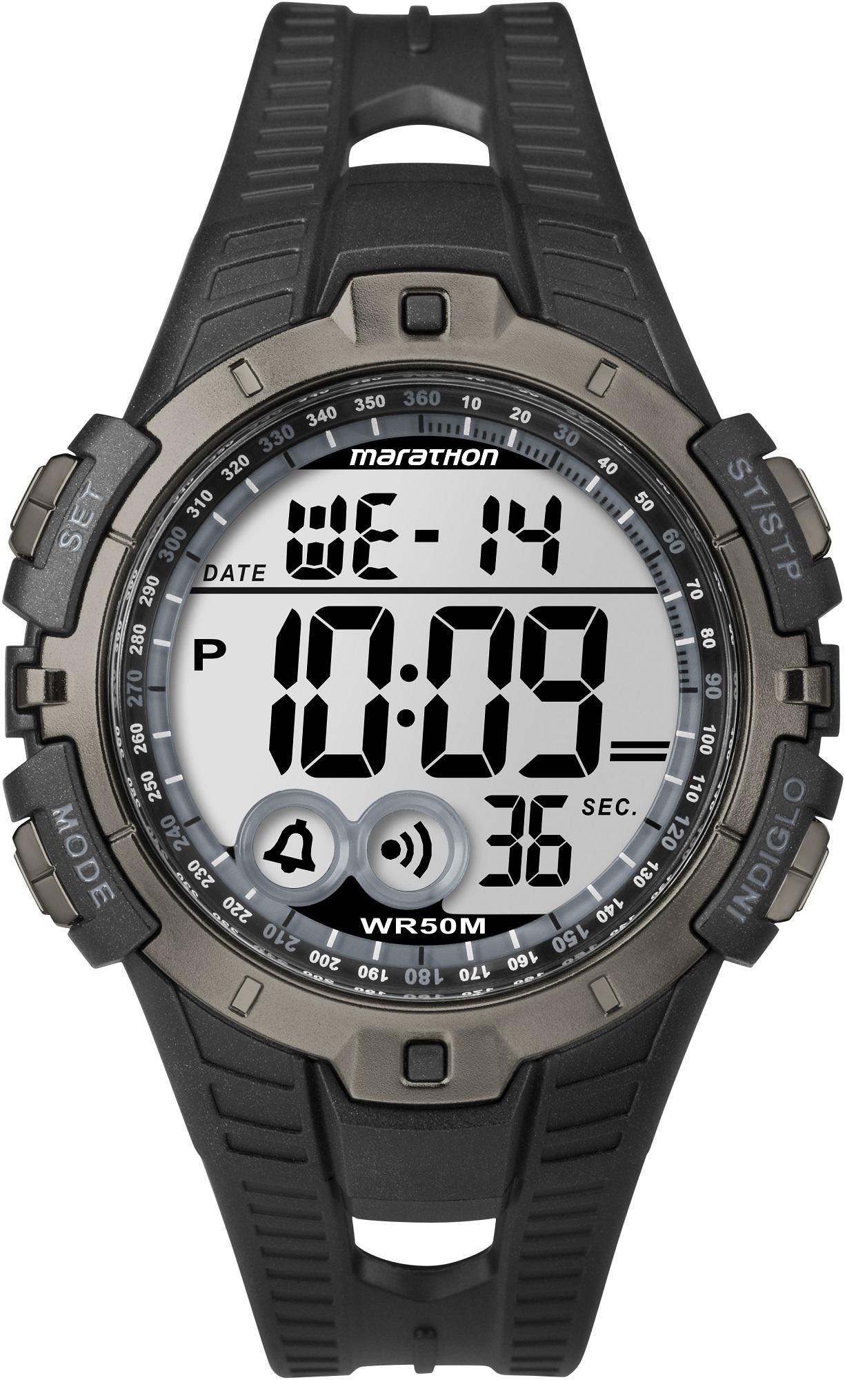 Наручные часы мужские Timex Marathon, цвет: черный. T5K802BM8434-58AEВодозащита 5 АТМ; Механизм кварцевый; Корпус пластиковый; Браслет каучуковый; Будильник; Секундомер; Стекло акриловое; Размер корпуса 46 мм; подсветка INDIGLO