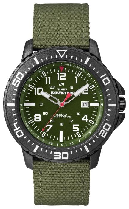 Наручные часы женские Timex Expedition, цвет: черный, зеленый. T49944BM8434-58AEКорпус 44мм, Зеленый циферблат, двойной сплошной тканевый ремешок зеленый, Легкоустанавливаямая дата QUICK-DATE®, Водозащита 5АТМ, Подсветка INDIGLO®, Ширина ремешка 22мм