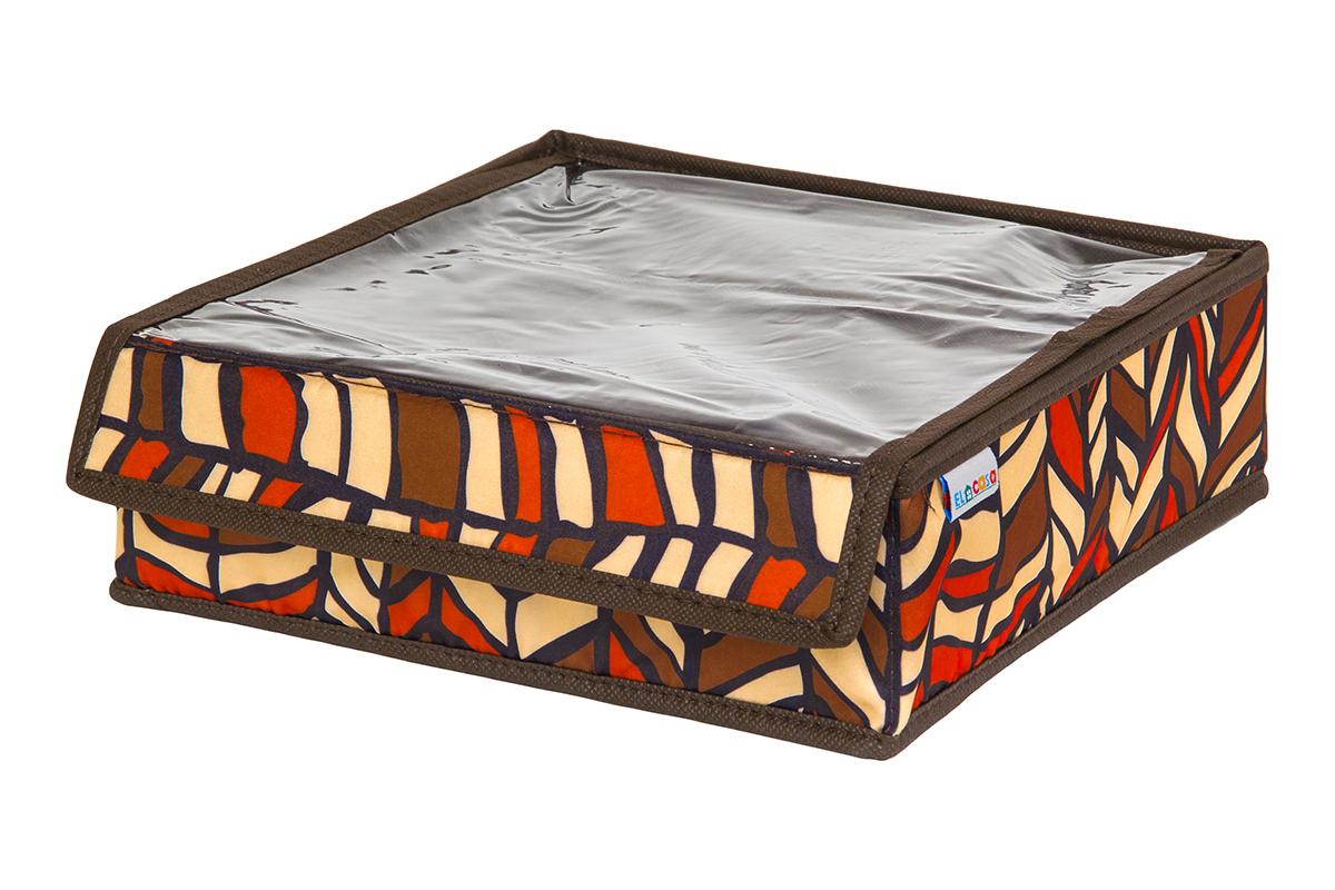 Кофр для хранения вещей EL Casa Африка, складной, 26 х 26 х 9 смRG-D31SКофр на 9 секций подходит для хранения нижнего белья, колготок, носков и другой одежды. Прозрачная крышка позволяет видеть содержимое кофра, не открывая его. Такой органайзер позволит вам хранить вещи компактно и удобно. Размер 26х26х9 см.