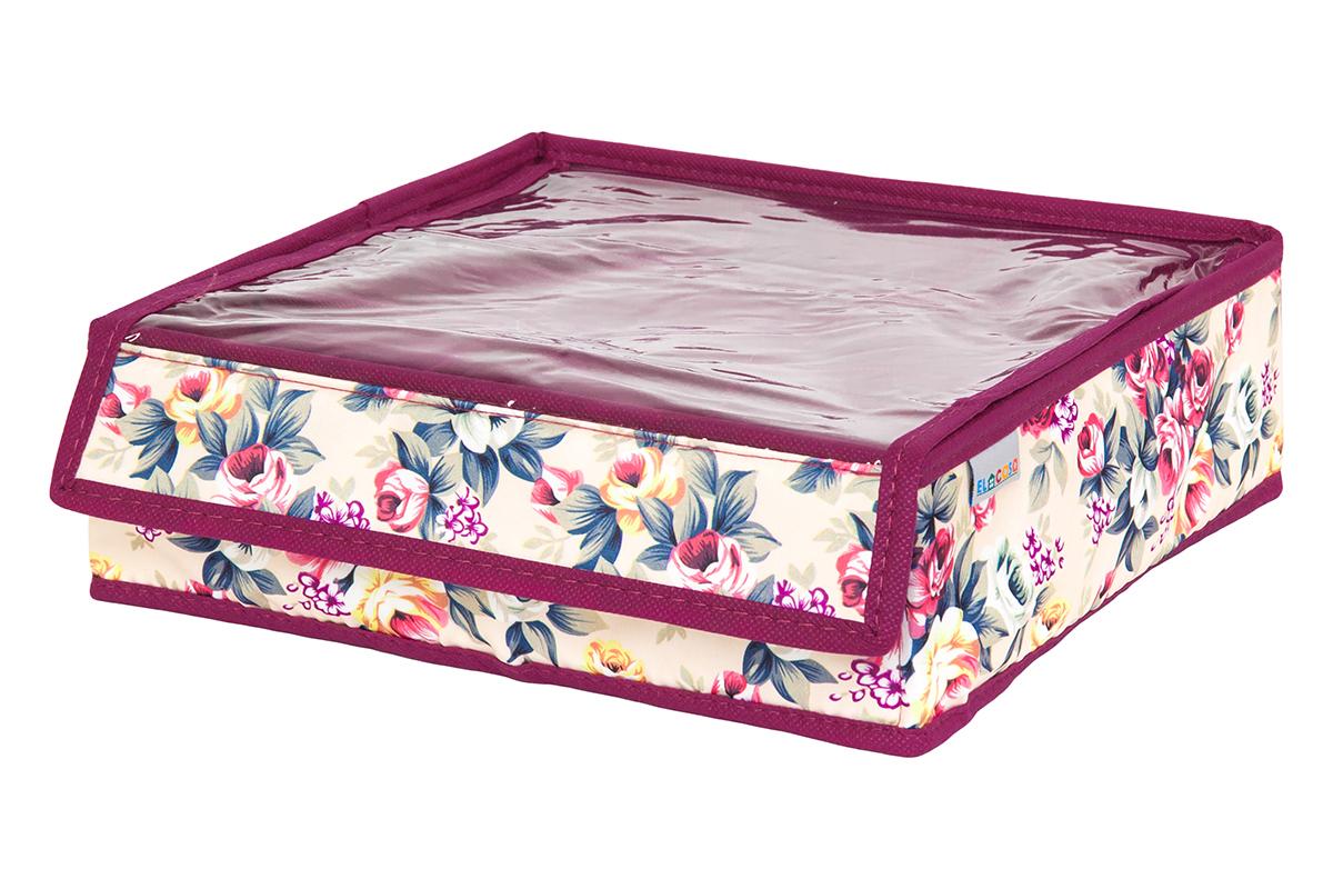 Кофр для хранения вещей EL Casa Розовый букет, складной, 26 х 26 х 9 см1004900000360Кофр на 9 секций подходит для хранения нижнего белья, колготок, носков и другой одежды. Прозрачная крышка позволяет видеть содержимое кофра, не открывая его. Такой органайзер позволит вам хранить вещи компактно и удобно. Размер 26х26х9 см.