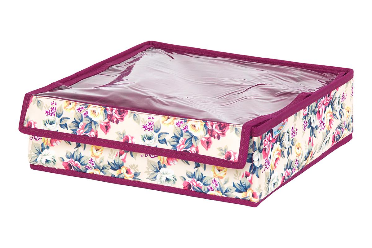 Кофр для хранения вещей EL Casa Розовый букет, складной, 32 х 32 х 10 см10503Кофр на 12 секций подходит для хранения нижнего белья, колготок, носков и другой одежды. Прозрачная крышка позволяет видеть содержимое кофра, не открывая его. Такой органайзер позволит вам хранить вещи компактно и удобно. Размер 32х32х10 см.