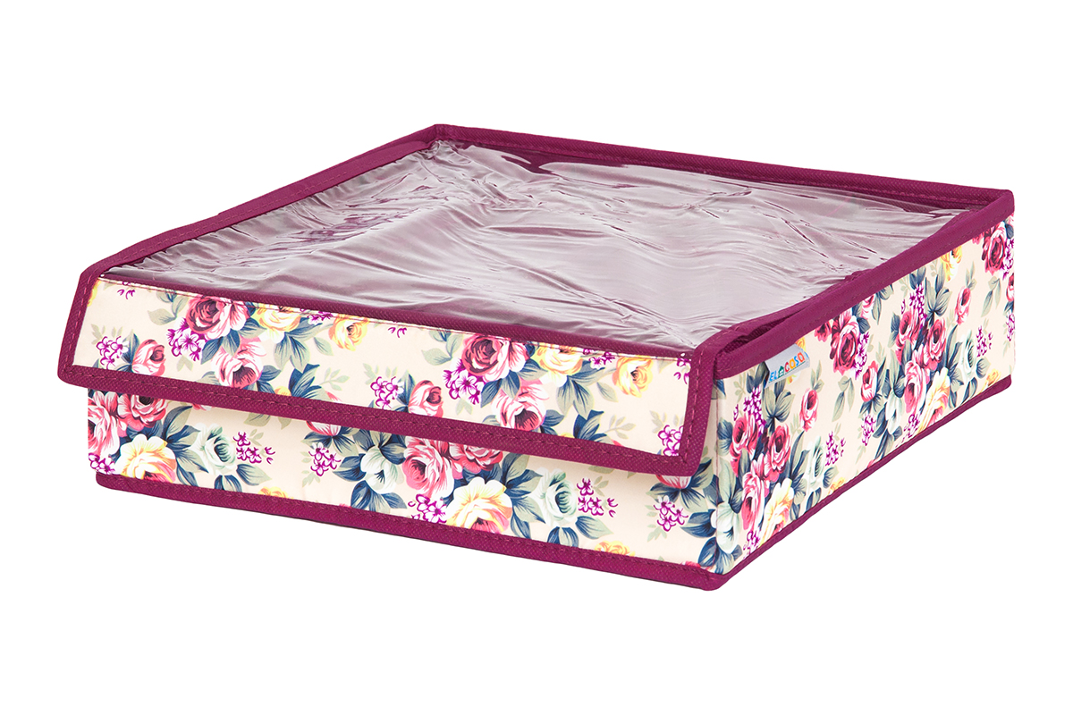 Кофр для хранения вещей EL Casa Розовый букет, складной, 32 х 32 х 10 см12723Кофр на 16 секций подходит для хранения нижнего белья, колготок, носков и другой одежды. Прозрачная крышка позволяет видеть содержимое кофра, не открывая его. Такой органайзер позволит вам хранить вещи компактно и удобно. Размер 32х32х10 см.