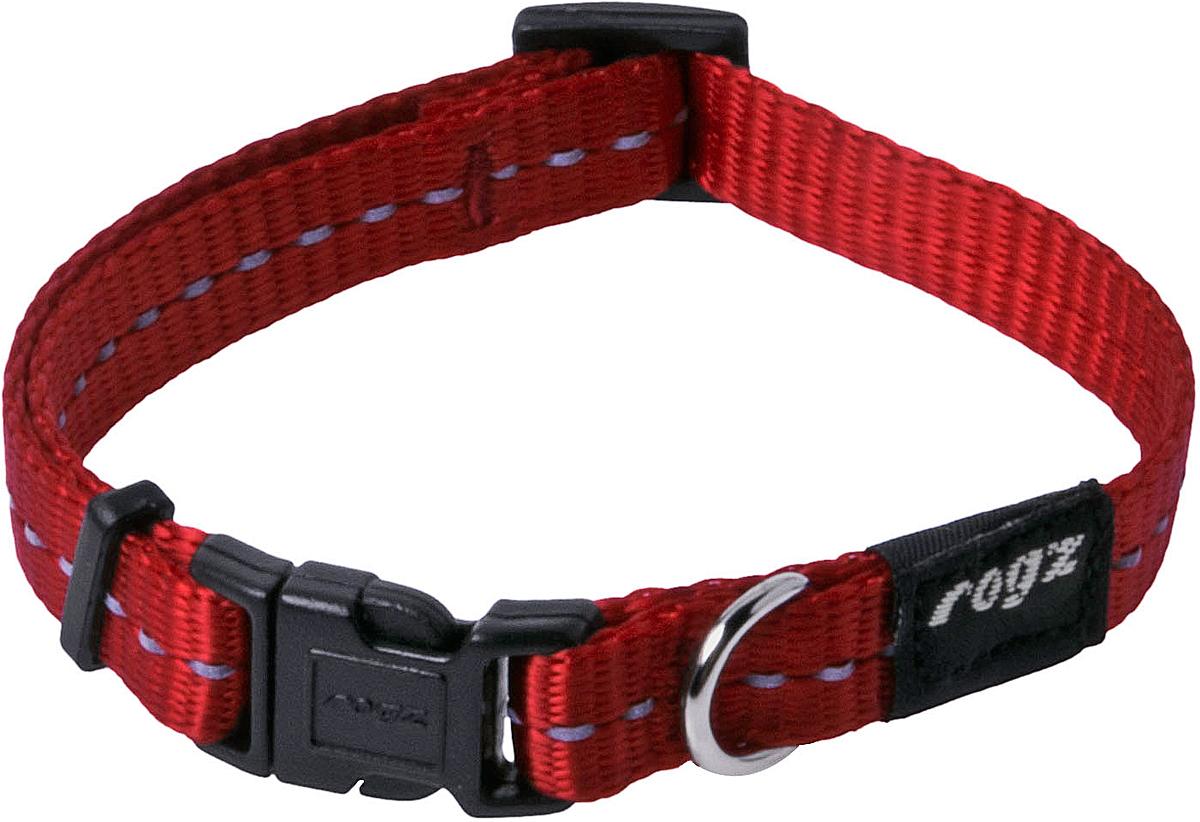 Ошейник для собак Rogz Utility, цвет: красный, ширина 1,1 см. Размер SHB14CОшейник для собак Rogz Utility  со светоотражающей нитью, вплетенной в нейлоновую ленту, обеспечивает лучшую видимость собаки в темное время суток. Специальная конструкция пряжки Rog Loc - очень крепкая (система Fort Knox). Замок может быть расстегнут только рукой человека. Технология распределения нагрузки позволяет снизить нагрузку на пряжки, изготовленные из титанового пластика, с помощью правильного и разумного расположения грузовых колец.Особые контурные пластиковые компоненты. Специальная округлая форма конструкции позволяет ошейнику комфортно облегать шею собаки.Выполненные специально по заказу Rogz литые кольца гальванически хромированы, что позволяет избежать коррозии и потускнения изделия.
