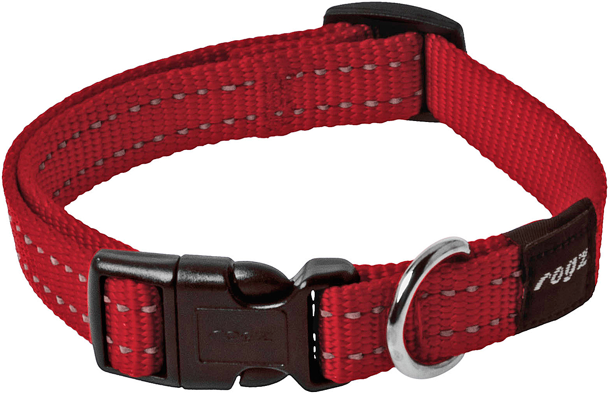 Ошейник для собак Rogz Utility, цвет: красный, ширина 1,6 см. Размер M12171996Ошейник для собак Rogz Utility  со светоотражающей нитью, вплетенной в нейлоновую ленту, обеспечивает лучшую видимость собаки в темное время суток. Специальная конструкция пряжки Rog Loc - очень крепкая (система Fort Knox). Замок может быть расстегнут только рукой человека. Технология распределения нагрузки позволяет снизить нагрузку на пряжки, изготовленные из титанового пластика, с помощью правильного и разумного расположения грузовых колец.Особые контурные пластиковые компоненты. Специальная округлая форма конструкции позволяет ошейнику комфортно облегать шею собаки.Выполненные специально по заказу Rogz литые кольца гальванически хромированы, что позволяет избежать коррозии и потускнения изделия.