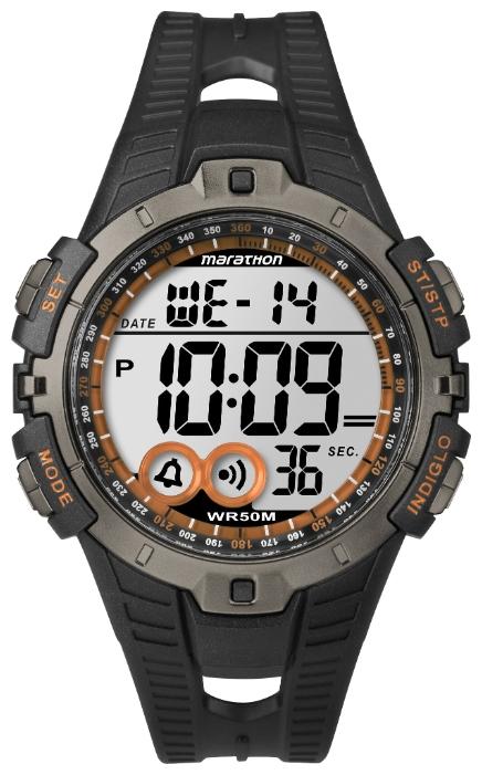 Наручные часы мужские Timex Marathon, цвет: черный. T5K801BM8434-58AEНаручные мужские часы Timex Marathon выполнены из высококачественных материалов. Модель с кварцевым механизмом, пластиковым корпус 41 мм, акриловым стеклом и силиконовым ремешком. Дополнительные функции: подсветка INDIGLO, будильник, 100 часовой хронограф, 24 часовой таймер, дата, 2 часовых пояса, водозащита: 5 АТМ.