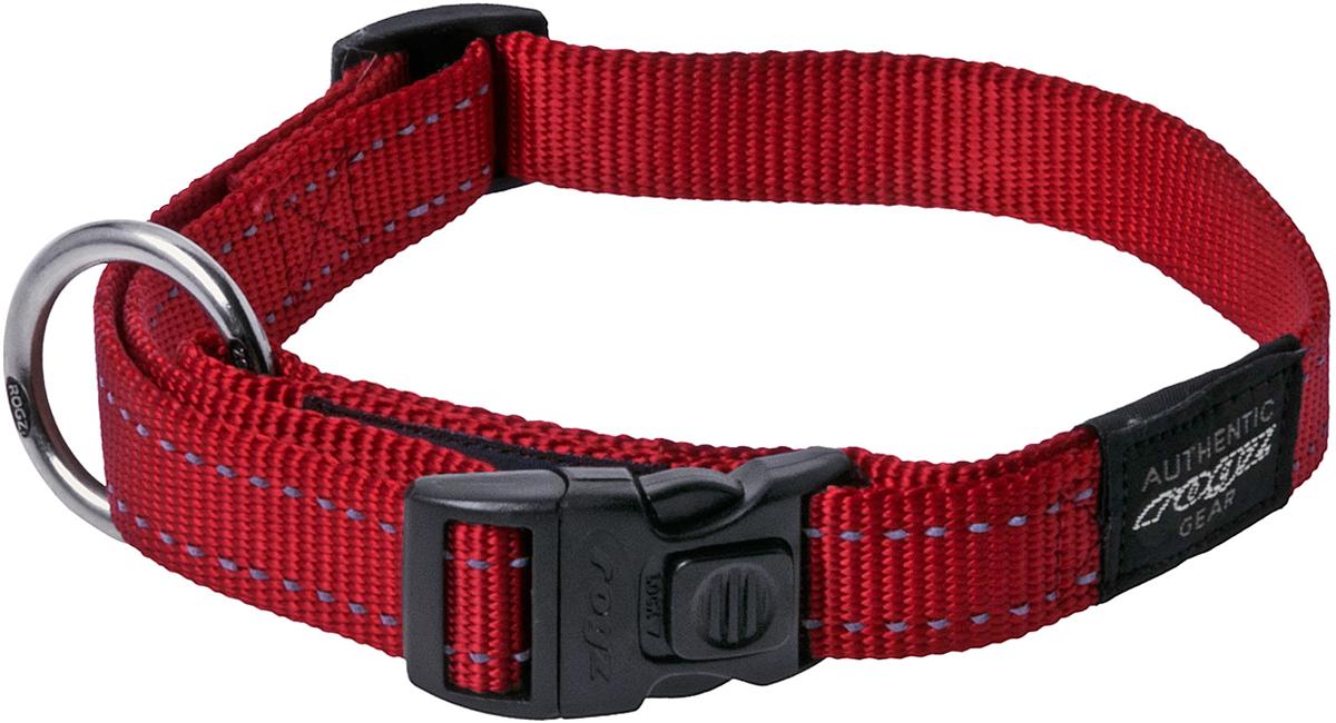 Ошейник для собак Rogz Utility, цвет: красный, ширина 2,5 см. Размер XL101246Ошейник для собак Rogz Utility  со светоотражающей нитью, вплетенной в нейлоновую ленту, обеспечивает лучшую видимость собаки в темное время суток. Специальная конструкция пряжки Rog Loc - очень крепкая (система Fort Knox). Замок может быть расстегнут только рукой человека. Технология распределения нагрузки позволяет снизить нагрузку на пряжки, изготовленные из титанового пластика, с помощью правильного и разумного расположения грузовых колец.Особые контурные пластиковые компоненты. Специальная округлая форма конструкции позволяет ошейнику комфортно облегать шею собаки.Выполненные специально по заказу Rogz литые кольца гальванически хромированы, что позволяет избежать коррозии и потускнения изделия.