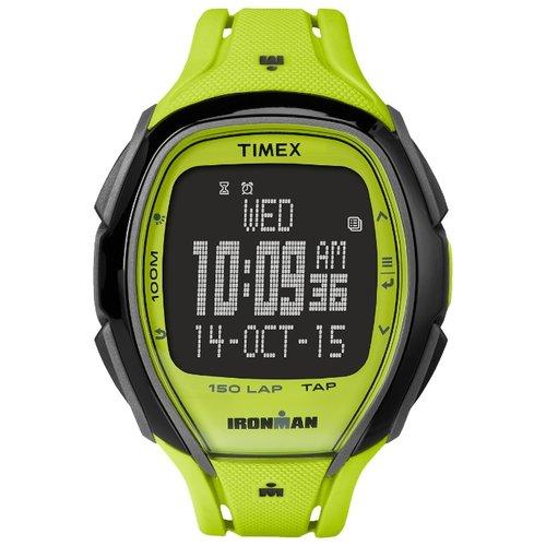 Наручные часы Timex Ironman, цвет: желтый. TW5M00400BM8434-58AEКорпус 46 мм в лаймовом цвете, Меню с технологией управления TapScreen, Секундомер с функцией LAP (150), интервальный таймер, Водозащита 10АТМ, Подсветка INDIGLO