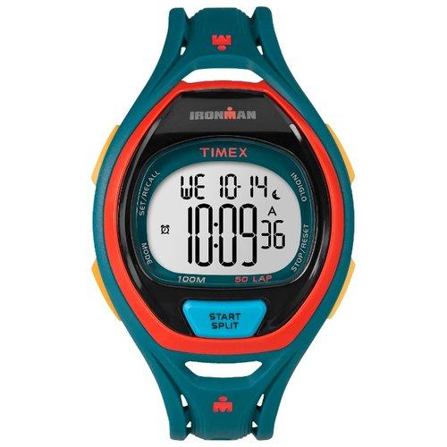 Наручные часы Timex Ironman, цвет: синий. TW5M01400BM8434-58AEКорпус 42 мм темно-бирюзового цвета, Секундомер с функцией LAP (50), Интервальный таймер, таймер обратного отсчета, будильник, Водозащита 10ATM, Подсветка INDIGLO®