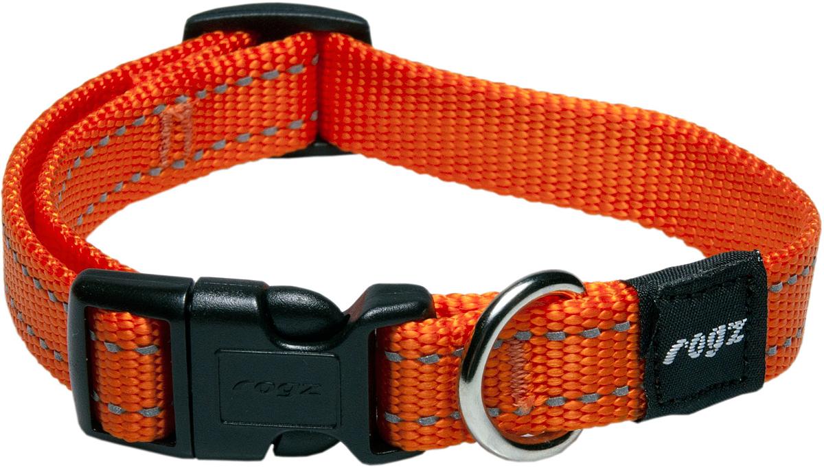 Ошейник для собак Rogz Utility, цвет: оранжевый, ширина 1,6 см. Размер MHB11DОшейник для собак Rogz Utility  со светоотражающей нитью, вплетенной в нейлоновую ленту, обеспечивает лучшую видимость собаки в темное время суток. Специальная конструкция пряжки Rog Loc - очень крепкая (система Fort Knox). Замок может быть расстегнут только рукой человека. Технология распределения нагрузки позволяет снизить нагрузку на пряжки, изготовленные из титанового пластика, с помощью правильного и разумного расположения грузовых колец.Особые контурные пластиковые компоненты. Специальная округлая форма конструкции позволяет ошейнику комфортно облегать шею собаки.Выполненные специально по заказу Rogz литые кольца гальванически хромированы, что позволяет избежать коррозии и потускнения изделия.