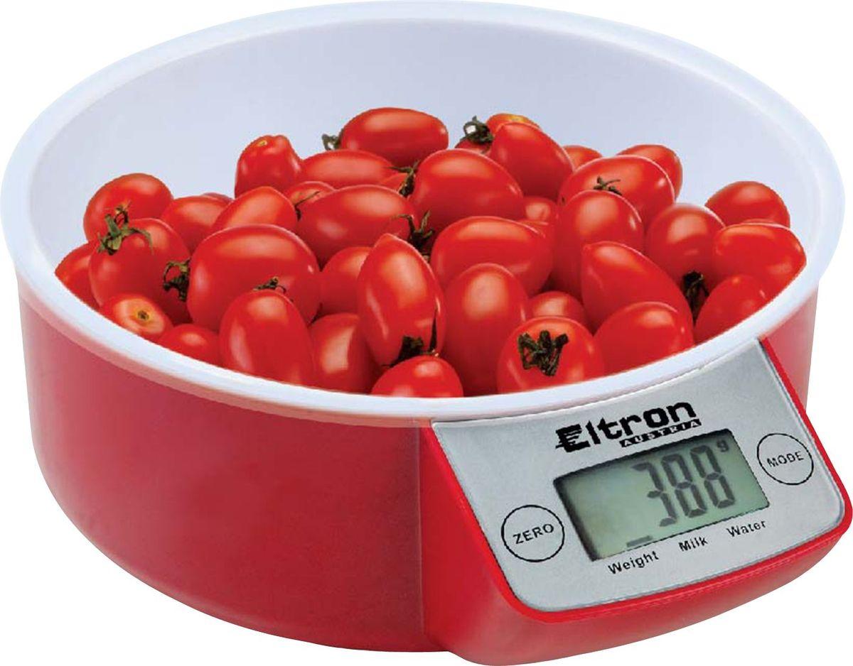 Весы кухонные Eltron, электронные, цвет: красный, белый, до 5 кг. 9257EL54 159652Электронные кухонные весы. /2 цвета/ Современный дизайн. Двухкнопочный механизм. ЖК-дисплей. Съемная прозрачная чаша. Максимальный вес - 5 кг. Показывает вес в унциях, фунтах, гр, мл.1х3В батарея входит в комплект.