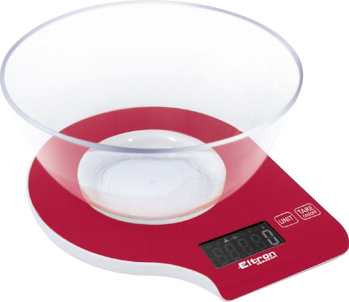 Весы кухонные Eltron, электронные, цвет: красный, до 5 кг. 9261EL54 159259Электронные кухонные весы. Современный дизайн. Двухкнопочный механизм. ЖК-дисплей. Съемная прозрачная чаша. Максимальный вес - 5 кг. Показывает вес в унциях, фунтах, гр, мл.2х 1,5В ААА батарея входит в комплект.