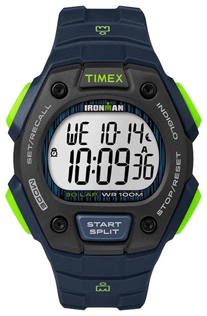 Наручные часы Timex Ironman, цвет: синий. TW5M11600EQW-M710DB-1A1Корпус 42 мм черн. цв.из закаленной резины; электронный циферблат; хезалитовое стекло; будильник; секундомер с памятью на 30 кругов/подходов; таймер обратного отсчета; подсветка INDIGLO с ночным режимом; водозащита 10 ATM