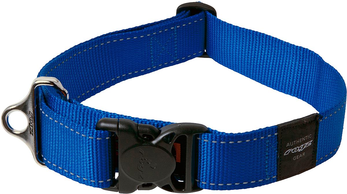 Ошейник для собак Rogz Utility, цвет: синий, ширина 4 см. Размер XXL12171996Ошейник для собак Rogz Utility  со светоотражающей нитью, вплетенной в нейлоновую ленту, обеспечивает лучшую видимость собаки в темное время суток. Специальная конструкция пряжки Rog Loc - очень крепкая (система Fort Knox). Замок может быть расстегнут только рукой человека. Технология распределения нагрузки позволяет снизить нагрузку на пряжки, изготовленные из титанового пластика, с помощью правильного и разумного расположения грузовых колец.Особые контурные пластиковые компоненты. Специальная округлая форма конструкции позволяет ошейнику комфортно облегать шею собаки.Выполненные специально по заказу Rogz литые кольца гальванически хромированы, что позволяет избежать коррозии и потускнения изделия.