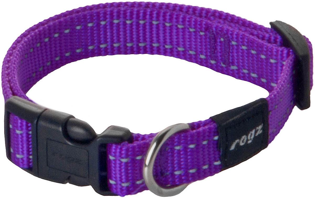 Ошейник для собак Rogz Utility, цвет: фиолетовый, ширина 1,6 см. Размер MHB11EОшейник для собак Rogz Utility  со светоотражающей нитью, вплетенной в нейлоновую ленту, обеспечивает лучшую видимость собаки в темное время суток. Специальная конструкция пряжки Rog Loc - очень крепкая (система Fort Knox). Замок может быть расстегнут только рукой человека. Технология распределения нагрузки позволяет снизить нагрузку на пряжки, изготовленные из титанового пластика, с помощью правильного и разумного расположения грузовых колец.Особые контурные пластиковые компоненты. Специальная округлая форма конструкции позволяет ошейнику комфортно облегать шею собаки.Выполненные специально по заказу Rogz литые кольца гальванически хромированы, что позволяет избежать коррозии и потускнения изделия.