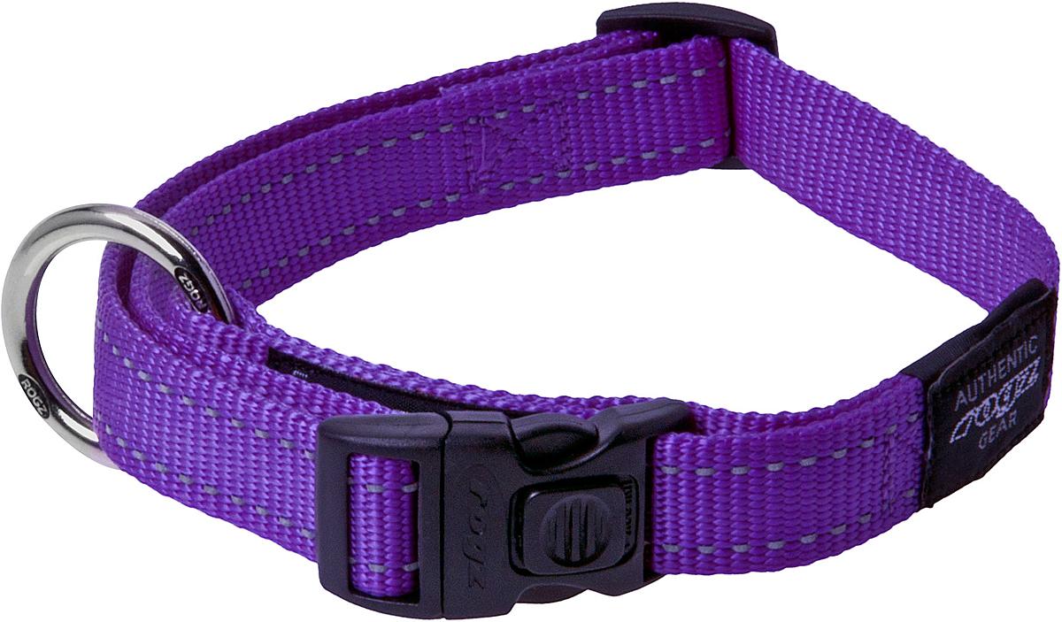 Ошейник для собак Rogz Utility, цвет: фиолетовый, ширина 2 см. Размер LCLJ216HОшейник для собак Rogz Utility  со светоотражающей нитью, вплетенной в нейлоновую ленту, обеспечивает лучшую видимость собаки в темное время суток. Специальная конструкция пряжки Rog Loc - очень крепкая (система Fort Knox). Замок может быть расстегнут только рукой человека. Технология распределения нагрузки позволяет снизить нагрузку на пряжки, изготовленные из титанового пластика, с помощью правильного и разумного расположения грузовых колец.Особые контурные пластиковые компоненты. Специальная округлая форма конструкции позволяет ошейнику комфортно облегать шею собаки.Выполненные специально по заказу Rogz литые кольца гальванически хромированы, что позволяет избежать коррозии и потускнения изделия.