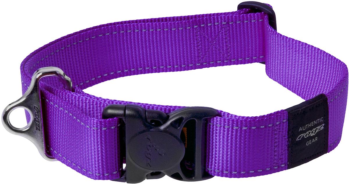 Ошейник для собак Rogz Utility, цвет: фиолетовый, ширина 4 см. Размер XXL0120710Ошейник для собак Rogz Utility  со светоотражающей нитью, вплетенной в нейлоновую ленту, обеспечивает лучшую видимость собаки в темное время суток. Специальная конструкция пряжки Rog Loc - очень крепкая (система Fort Knox). Замок может быть расстегнут только рукой человека. Технология распределения нагрузки позволяет снизить нагрузку на пряжки, изготовленные из титанового пластика, с помощью правильного и разумного расположения грузовых колец.Особые контурные пластиковые компоненты. Специальная округлая форма конструкции позволяет ошейнику комфортно облегать шею собаки.Выполненные специально по заказу Rogz литые кольца гальванически хромированы, что позволяет избежать коррозии и потускнения изделия.