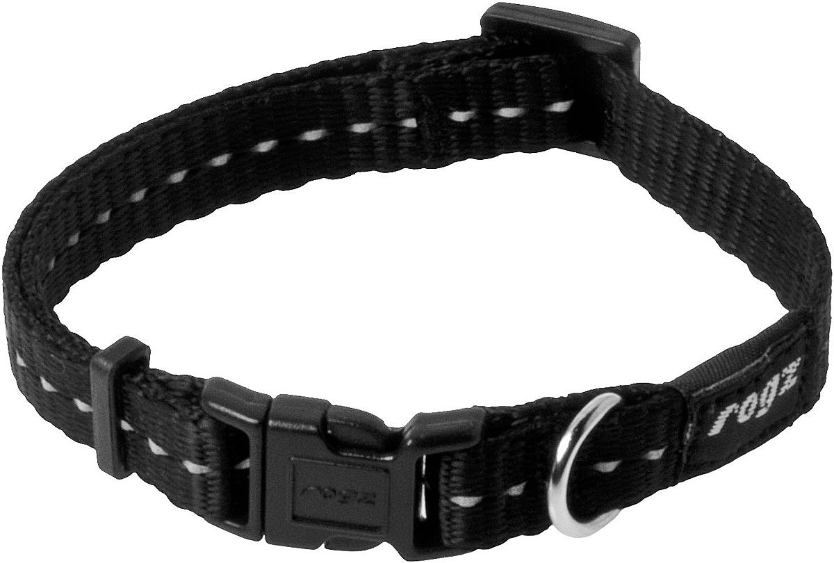 Ошейник для собак Rogz Utility, цвет: черный, ширина 1,1 см. Размер S101246Ошейник для собак Rogz Utility  со светоотражающей нитью, вплетенной в нейлоновую ленту, обеспечивает лучшую видимость собаки в темное время суток. Специальная конструкция пряжки Rog Loc - очень крепкая (система Fort Knox). Замок может быть расстегнут только рукой человека. Технология распределения нагрузки позволяет снизить нагрузку на пряжки, изготовленные из титанового пластика, с помощью правильного и разумного расположения грузовых колец.Особые контурные пластиковые компоненты. Специальная округлая форма конструкции позволяет ошейнику комфортно облегать шею собаки.Выполненные специально по заказу Rogz литые кольца гальванически хромированы, что позволяет избежать коррозии и потускнения изделия.