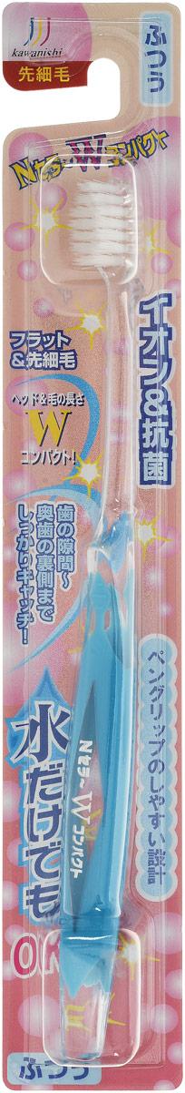 Kawanishi Зубная щетка N-Сera W-Compact, с тонкими кончиками, цвет: голубойMP59.4DЗубная щетка Kawanishi N-Сera W-Compact со щетиной средней жесткости и тонкими кончиками имеет эргономичную утолщенную ручку.Эта щетка предназначена для профилактики кариеса, она обеспечивает чистоту полости рта, эффективно удаляет зубной налет и массирует десны. Чистящая головка щетки обработана антибактериальными компонентами, ионами и минералами, поэтому вы можете чистить зубы даже без использования зубной пасты.Компактная чистящая головка позволяет чистить зубы в труднодоступных местах, а тонкие концы щетинок проникают в межзубные пространства, удаляя остатки пищи и налет.Товар сертифицирован.