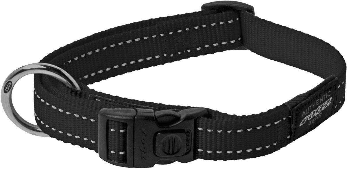 Ошейник для собак Rogz Utility, цвет: черный, ширина 2 см. Размер L0120710Ошейник для собак Rogz Utility  со светоотражающей нитью, вплетенной в нейлоновую ленту, обеспечивает лучшую видимость собаки в темное время суток. Специальная конструкция пряжки Rog Loc - очень крепкая (система Fort Knox). Замок может быть расстегнут только рукой человека. Технология распределения нагрузки позволяет снизить нагрузку на пряжки, изготовленные из титанового пластика, с помощью правильного и разумного расположения грузовых колец.Особые контурные пластиковые компоненты. Специальная округлая форма конструкции позволяет ошейнику комфортно облегать шею собаки.Выполненные специально по заказу Rogz литые кольца гальванически хромированы, что позволяет избежать коррозии и потускнения изделия.