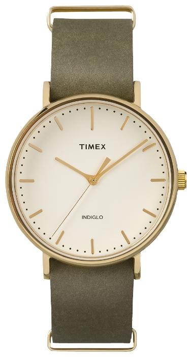Наручные часы женские Timex Weekender, цвет: золотистый. TW2P98000ML597BUL/DКорпус 41 мм золотистого цвета, на ремне из натуральной кожи, с возможностью фиксации корпуса под размер запястья; минеральное стекло; аналоговый циферблат кремового цвета, индексы; подсветка INDIGLO; водозащита 3 AТМ.