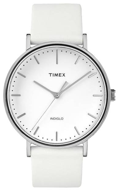 Наручные часы женские Timex Fairfield, цвет: белый. TW2R26100BM8434-58AEКорпус 41 мм серебристого цвета, на ремне из натуральной кожи белого цвета с возможностью фиксации корпуса под размер запястья, аналоговый циферблат белого цвета, минеральное стекло, водозащита 3 AТМ, подсветка Indiglo