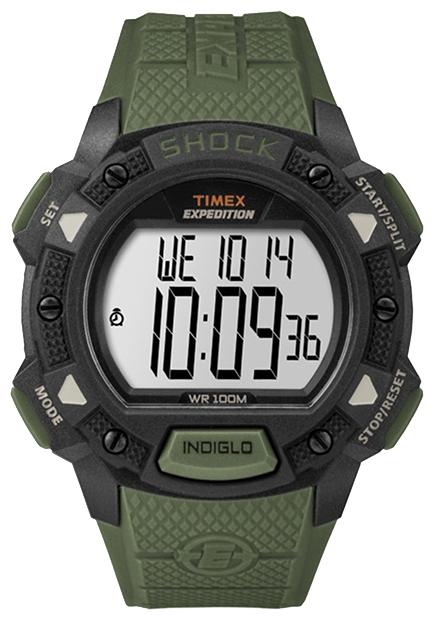Наручные часы Timex Expedition, цвет: черный, зеленый. TW4B09300BM8434-58AEКорпус 45 мм черн. цв. из закаленной резины; ремешок из закаленной резины зел. цв.; электр. циферблат; хезалитовое стекло; 100-час. хронограф; 24-час. секундомер; три будильника; 2 часовых пояса; подсветка INDIGLO с ночным режимом; водозащита 10 AТМ