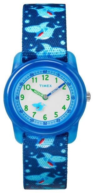 Наручные часы детские Timex Kids, цвет: синий. TW7C13500EQW-M710DB-1A1Корпус 28 мм из полупрозрачной пластмассы синего цвета, нейлоновый легкорегулируемый ремешок с принтом синего цвета, аналоговый циферблат белого цвета, арабские цифры, акриловое стекло, водозащита 3 АТМ