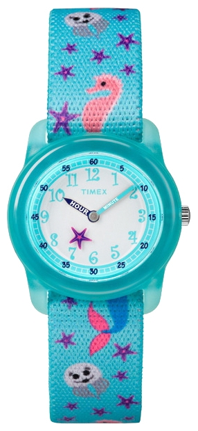 Наручные часы детские Timex Kids, цвет: бирюзовый. TW7C13700BM8434-58AEКорпус 28 мм из полупрозрачной пластмассы голубого цвета, нейлоновый легкорегулируемый ремешок с принтом голубого цвета, аналоговый циферблат белого цвета, арабские цифры, акриловое стекло, водозащита 3 АТМ
