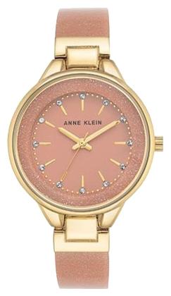 Наручные часы женские Anne Klein Watches, цвет: розовый, золотистый. 1408LPLPBM8434-58AEКорпус 36мм с золотистым покрытием, Циферблат нюдовый, безель золотого цвета, браслет из пластика золотого и нежно розового цвета/ мерцание блесток, Минеральное стекло, водозащита 3 АТМ
