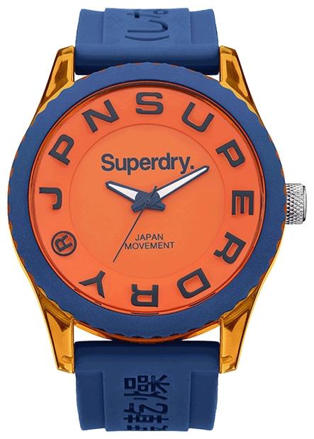 Наручные часы Superdry Watches, цвет: оранжевый, синий. SYG145UOBM8434-58AE3-стрелочный механизм Miyota 2035; Палстиковый корпус; Размер корпуса 45 мм; Минеральное стекло; Матовый оранжевый циферблат; Синий силиконовый ремешок; Водозащита 5 ATM