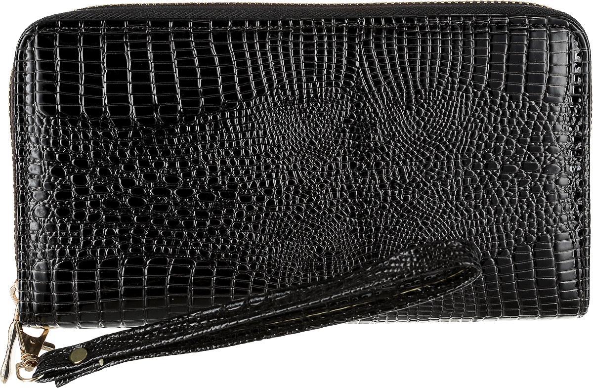 Кошелек женский Leighton, цвет: черный. 0005308677-080-06Кошелек женский Leighton закрывается на молнию. Внутри расположены два отделения для купюр и одно отделение на молнии. Имеются карманы для карточек и визиток.