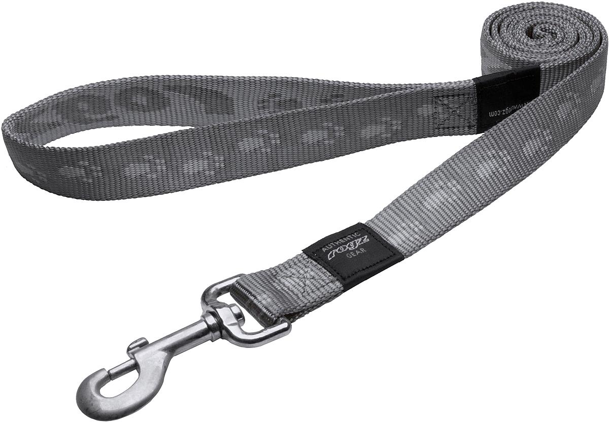 Поводок для собак Rogz Alpinist, цвет: серый, ширина 2,5 см. Размер XL0120710Поводок для собак Rogz Alpinist изготовлен из нейлона и снабжен металлическим карабином. Особо мягкая, но очень прочная лента обеспечит безопасность на прогулке даже самым активным собакам.Все соединения деталей имеют специальную дополнительную строчку для большей прочности. Выполненные специально по заказу Rogz литые кольца гальванически хромированы, что позволяет избежать коррозии и потускнения изделия.