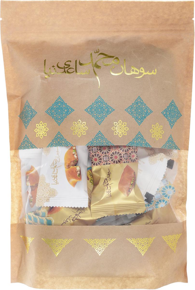Sohan ресепш иранская сладость, 500 г0120710Сохан ресепшен- это необыкновенное лакомство из Ирана. Одну из самых необычных восточных сладостей изготавливают из пророщенной пшеницы, ядрышек миндаля и фисташек и эссенции с нежным цветочным ароматом. Благодаря такому оригинальному сочетанию вкус иранской халвы получается просто удивительным и аналогов этому десерту нет.