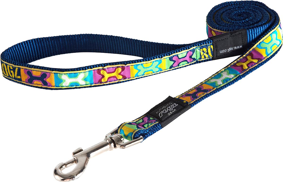 Поводок для собак Rogz Fancy Dress, цвет: синий, ширина 2 смHL03BWПоводок для собак Rogz Fancy Dress с потрясающе красивым орнаментом на прочной тесьме поверх нейлоновой ленты украсит вашего питомца.Необыкновенно крепкий и прочный поводок.Выполненные по заказу литые кольца выдерживают значительные физические нагрузки и имеют хромирование, нанесенное гальваническим способом, что позволяет избежать коррозии и потускнения изделия.