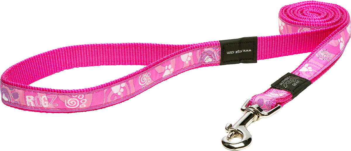 Поводок для собак Rogz Fancy Dress, цвет: розовый, ширина 2 смHL03CAПоводок для собак Rogz Fancy Dress с потрясающе красивым орнаментом на прочной тесьме поверх нейлоновой ленты украсит вашего питомца.Необыкновенно крепкий и прочный поводок.Выполненные по заказу литые кольца выдерживают значительные физические нагрузки и имеют хромирование, нанесенное гальваническим способом, что позволяет избежать коррозии и потускнения изделия.
