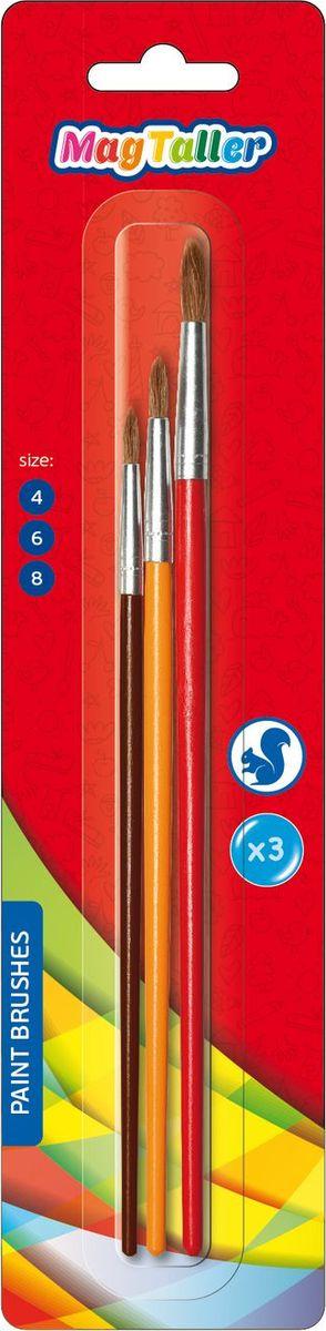 MagTaller Набор кистей беличьих Hapsi 3 штCS-GSA313020Деревянный корпус покрыт цветным лаком, металлический обжим