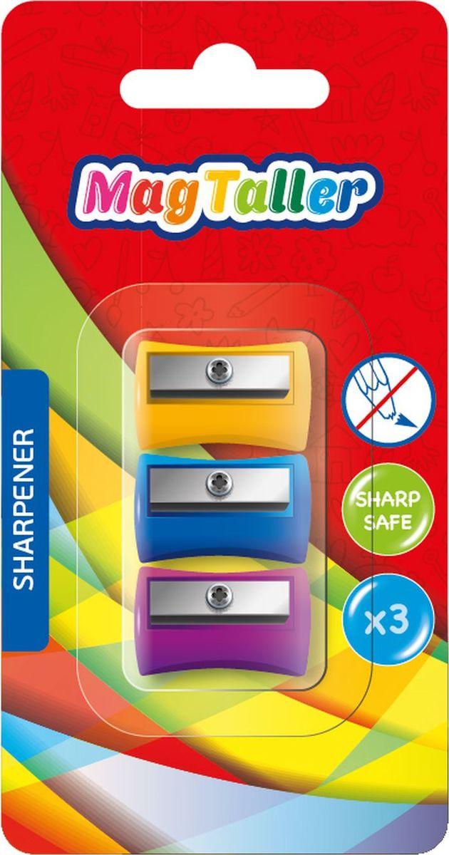 MagTaller Точилка Tero 3 шт72523WDПластиковый корпус, безопасное лезвие из нержавеющей стали, ассортимент цветов.